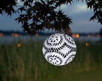 Black & White Round LED Solar Lantern